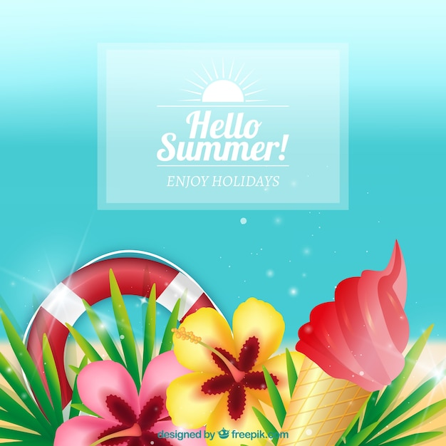 Summer background with flowers and other\ elements