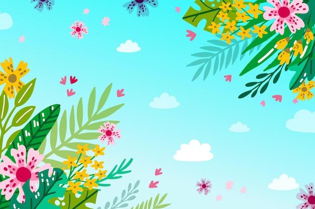 花と夏の背景 無料ベクター