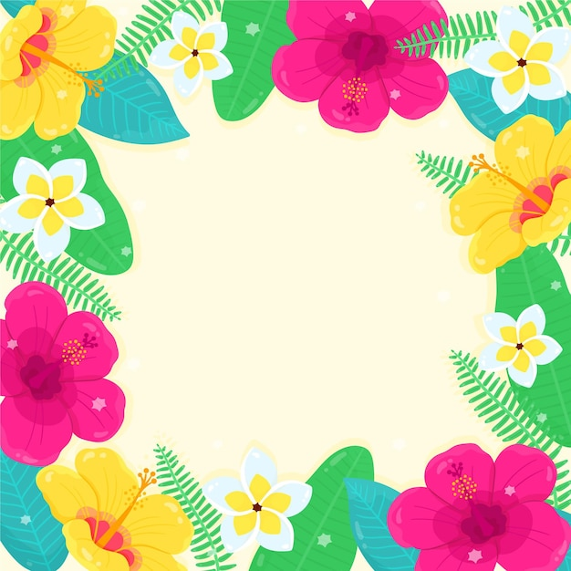 Summer background with flowers Free Vector