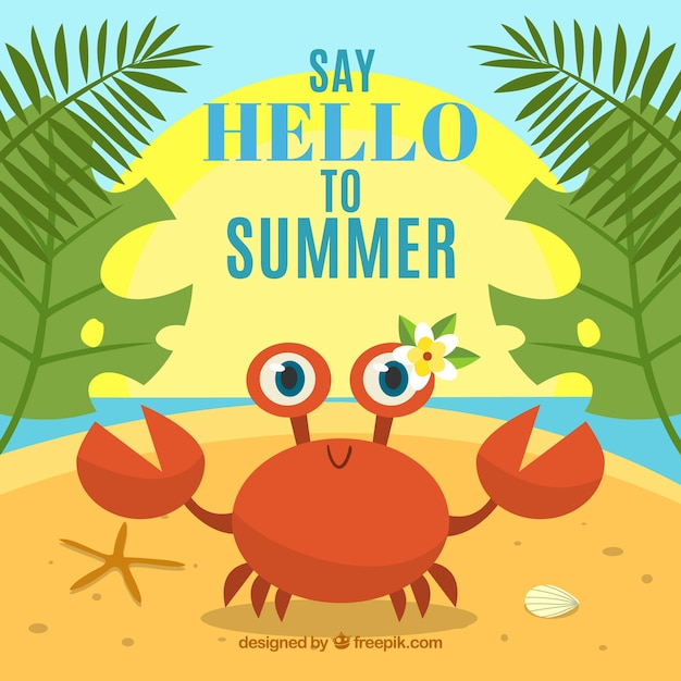Summer background with funny crab Free Vector