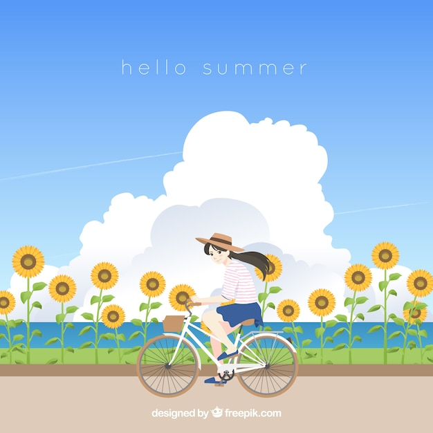 Summer background with girl in field of\ sunflowers