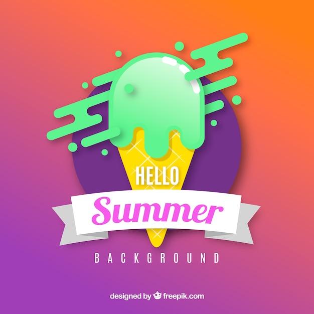 フラットスタイルのアイスクリームと夏の背景 無料ベクター