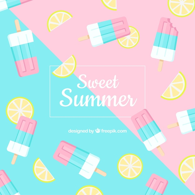 Summer background with ice cream pattern Free Vector