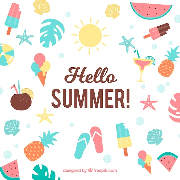 Icecreames Wallpaper On Tumblr: Summer Background With Ice Creams And Fruits Vector