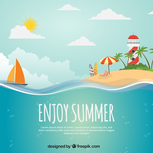 summer background with island  boat and lighthouse vector