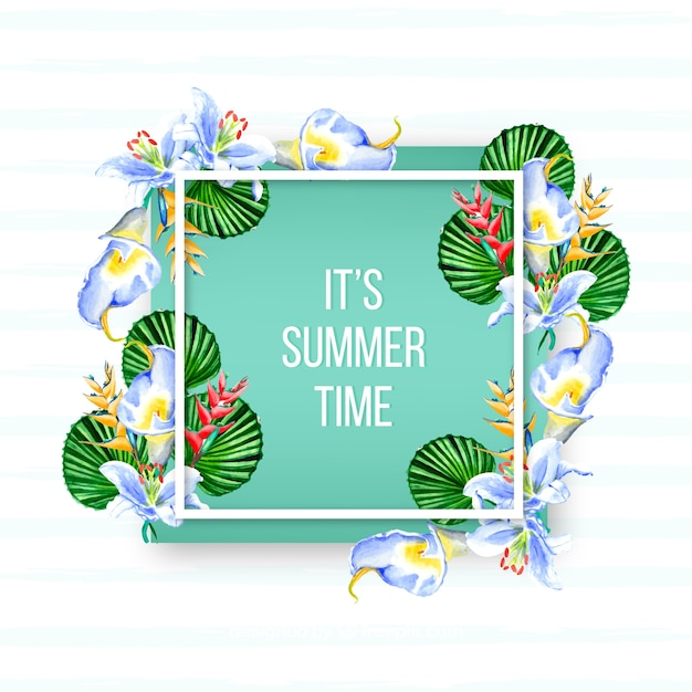 Summer background with leaves and watercolor\ flowers