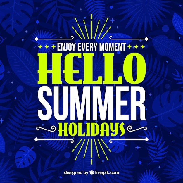 Summer background with lettering Free Vector