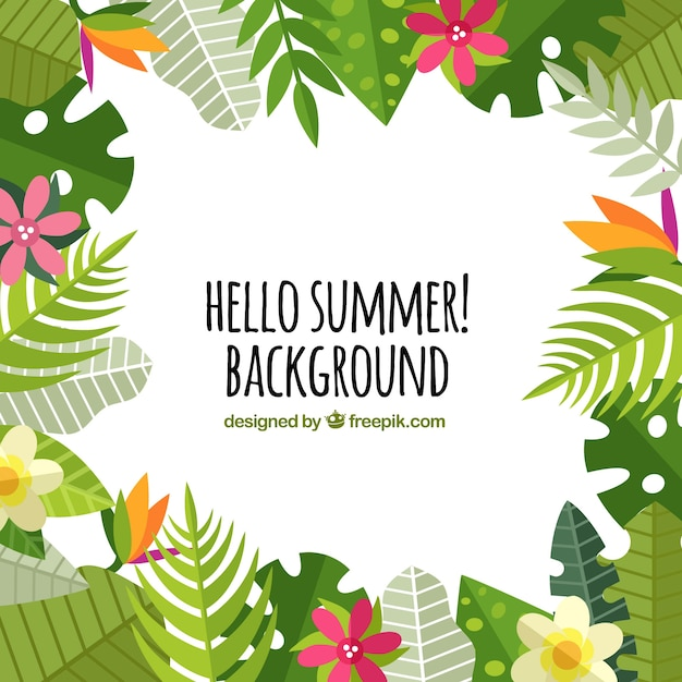 Summer background with palm leaves and\ flowers