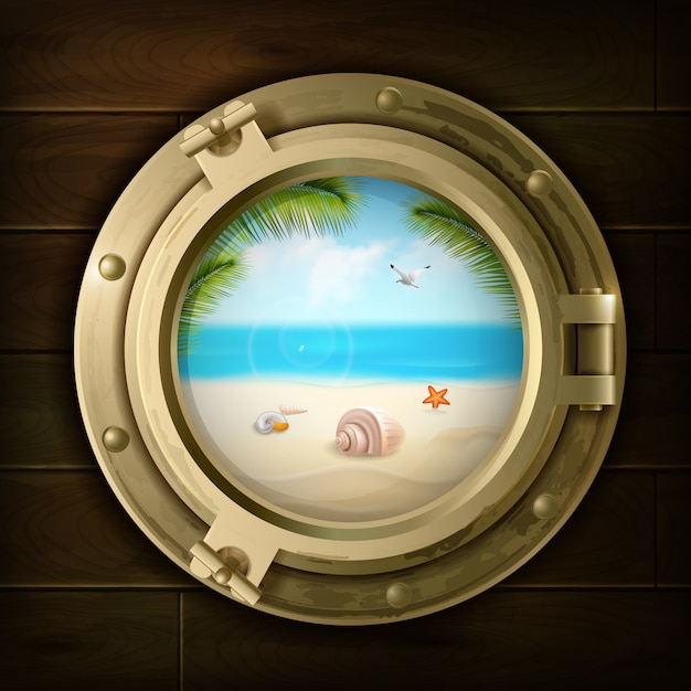 Summer background with palm shells and starfish on beach in ship porthole on wood texture vector illustration Free Vector
