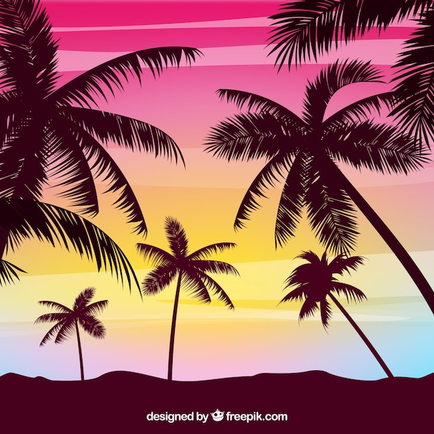 Summer background with palm tree silhouettes Free Vector