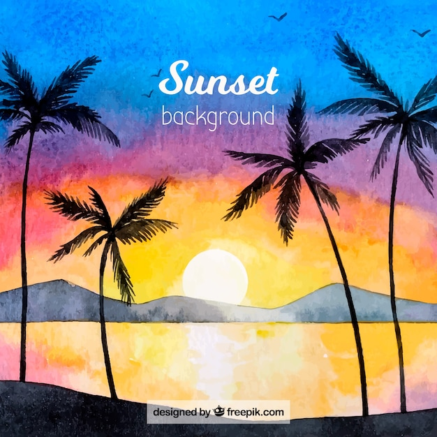 Summer background with palm tree\ silhouettes