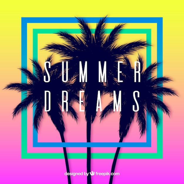 Summer background with palm trees silhouette and sunset Free Vector