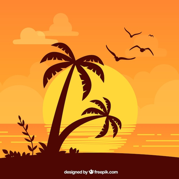 Summer background with palm trees at sunset Free Vector