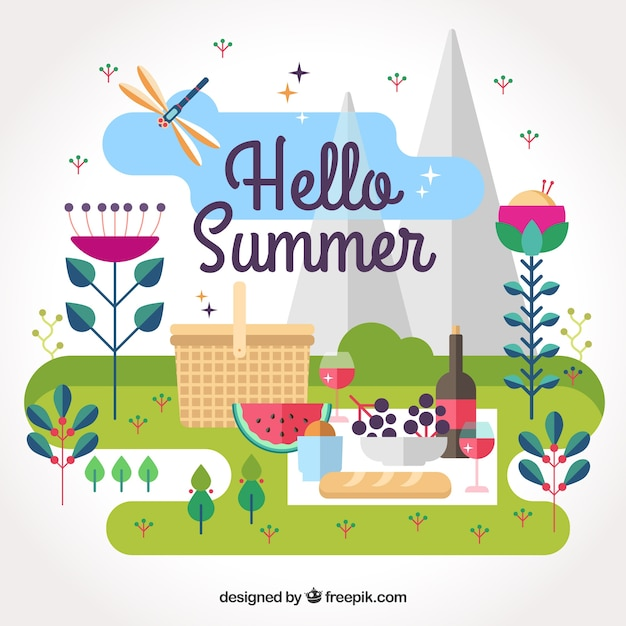 Summer background with picnic outdoors