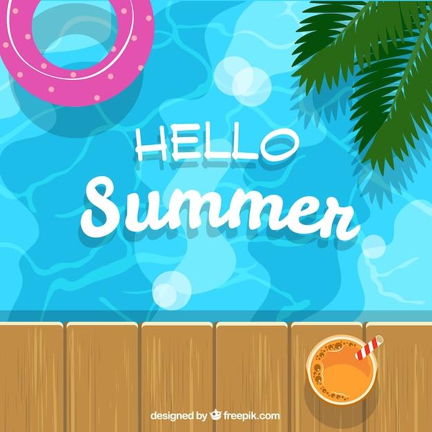 プールとフロートの夏の背景 無料ベクター