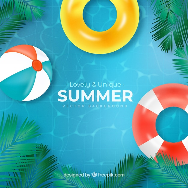 Summer background with pool view Free Vector
