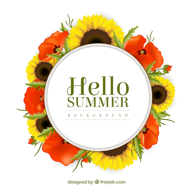 Summer background with pretty flowers
