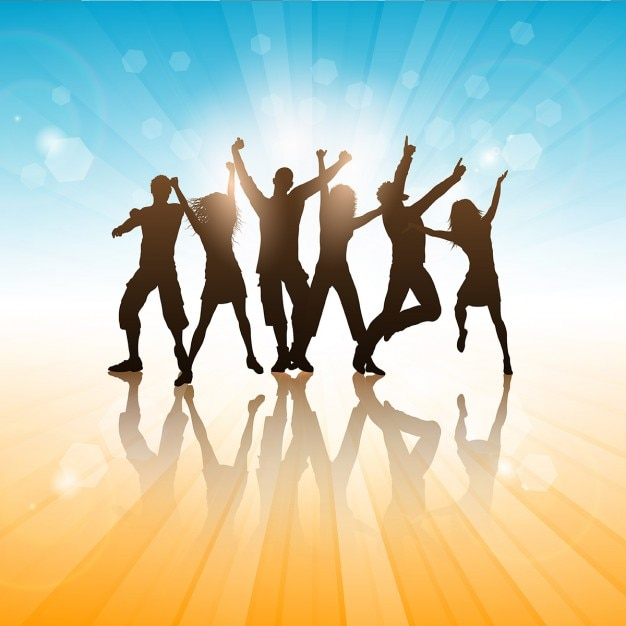 Summer Background With Silhouettes If People Dancing