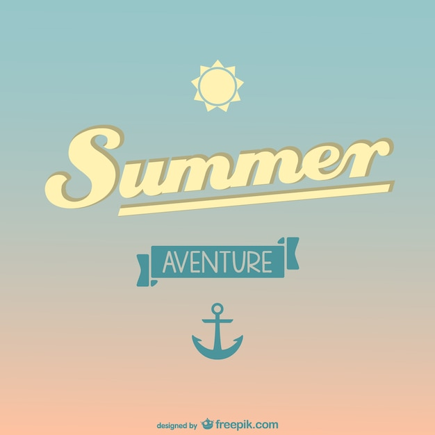 Summer background with a sun and an anchor Free Vector