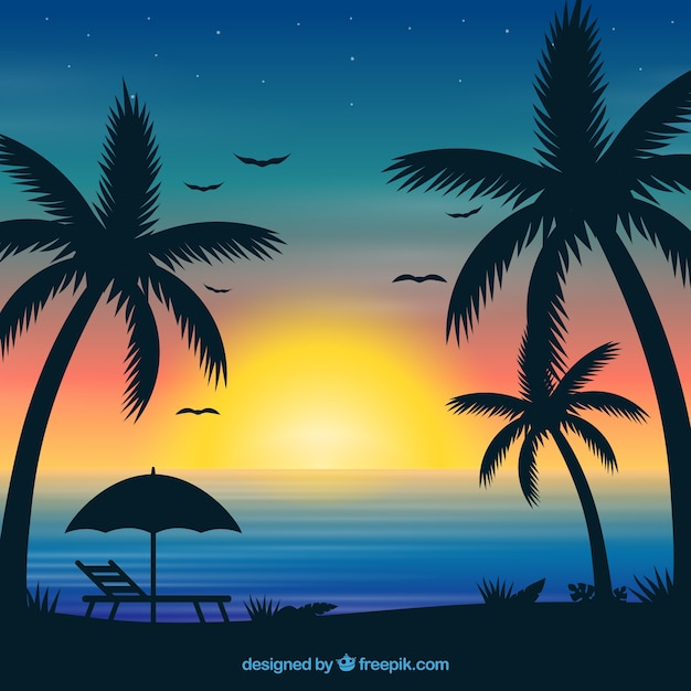 Summer background with sunset and palm\ trees