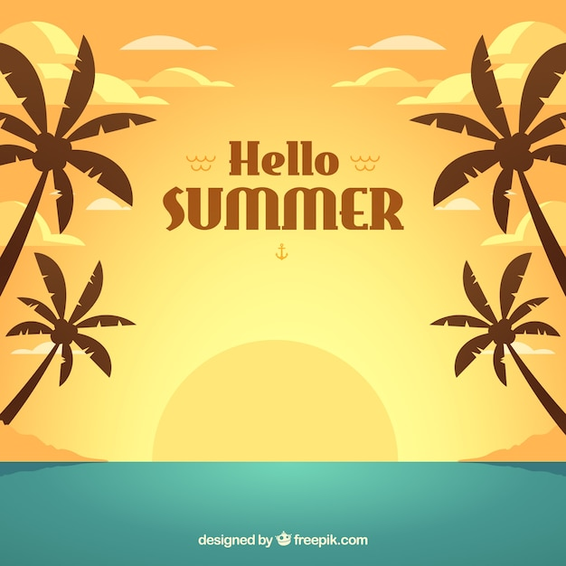 Summer background with sunset in flat\ style