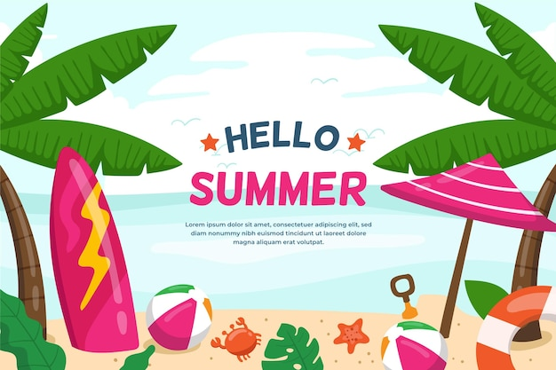 Summer background with surfboard and umbrella Free Vector
