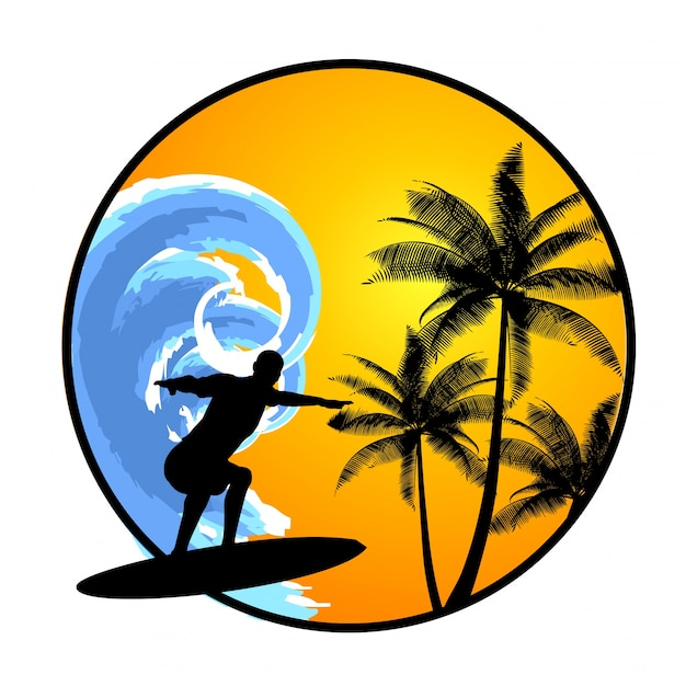 Summer background with surfer Free Vector
