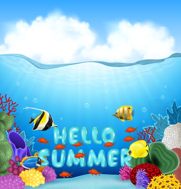 Summer background with tropical fish Premium Vector
