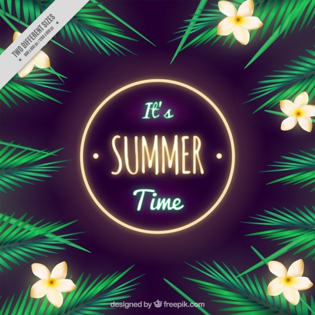 Summer background with tropical flowers and\ palm leaves