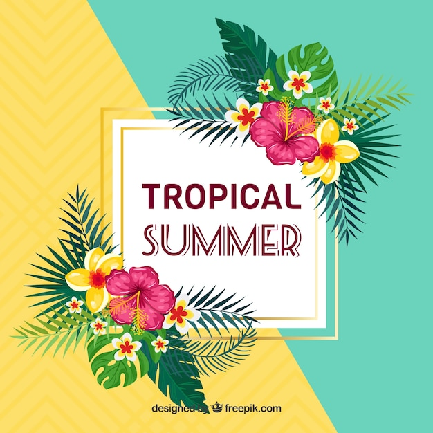Summer background with tropical flowers Free Vector