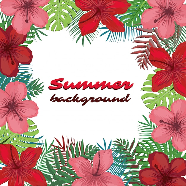 Summer background with tropical flowers Premium Vector