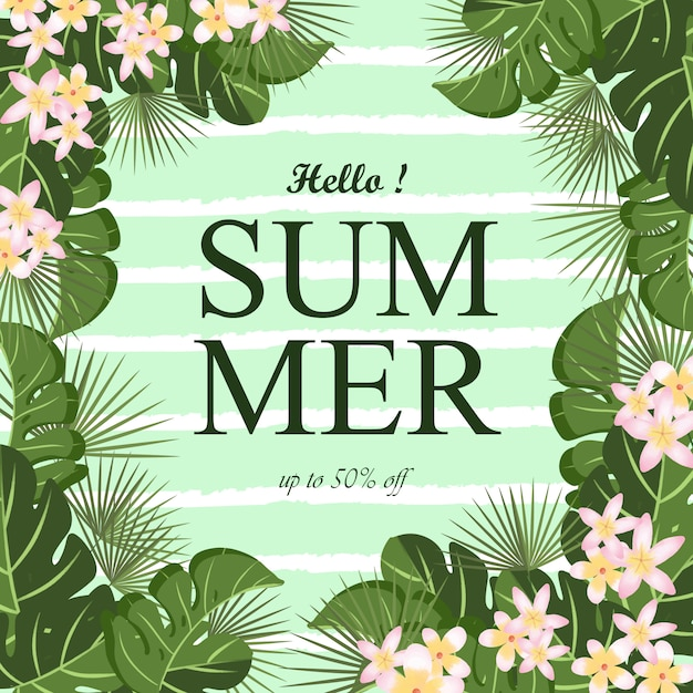 Summer background with tropical foliage frame and abstract line Premium Vector