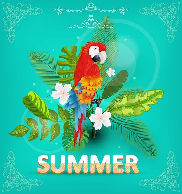 熱帯植物と花の夏の背景。誤植、バナー、ポスター、パーティの招待状。図 Premiumベクター