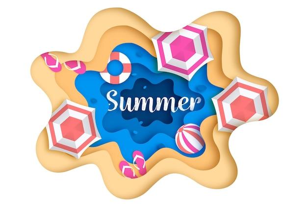 パラソルとサンダルの夏の背景 無料ベクター