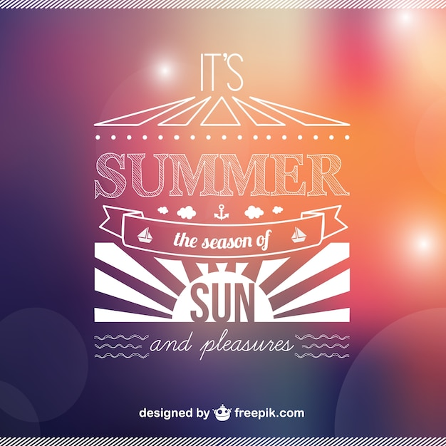 Summer background with white sun and bokeh effect Free Vector