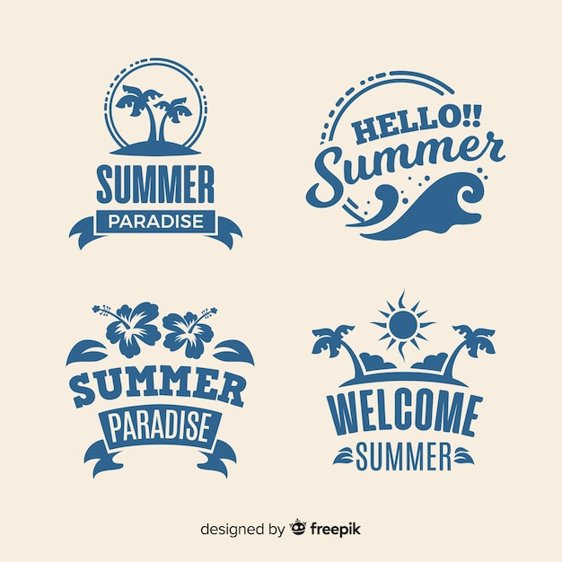 Summer badge collection Free Vector