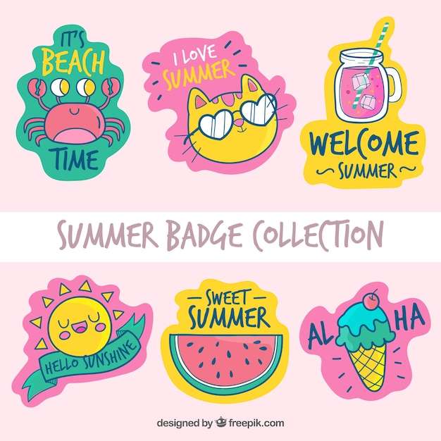 Summer badges collection with beach elements Free Vector