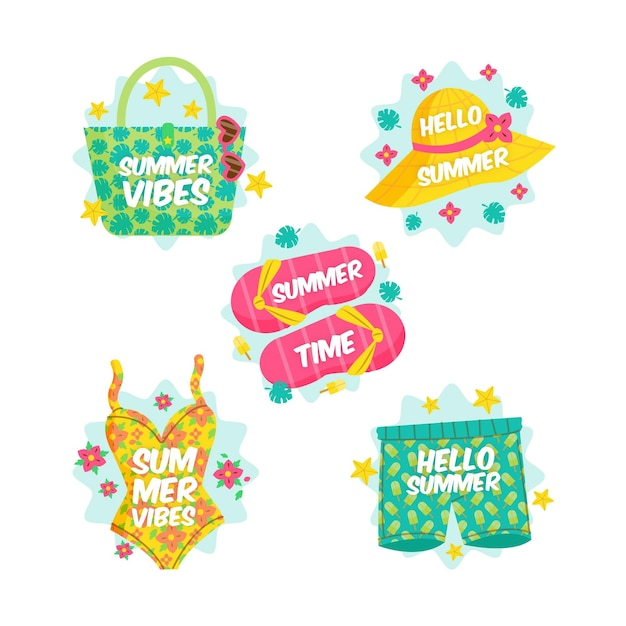 Summer badges with beach essentials Free Vector