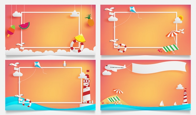 Summer banner frame as horizontal contain white border and sunset light shining on background Premium Vector