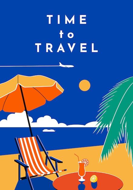 Summer banner with beach, sea, umbrella, chaise longue. Premium Vector