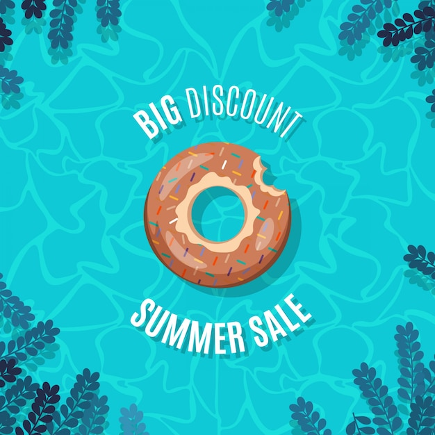 Summer banner with inflatable donut sprinkled in bright water pool Premium Vector