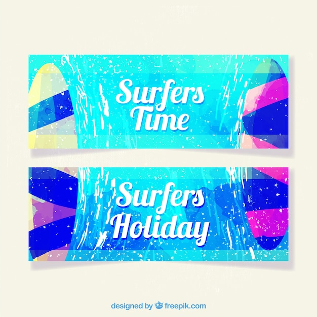 Summer banners collection Free Vector