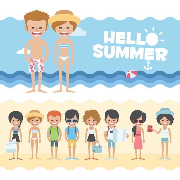 Summer banners design Free Vector