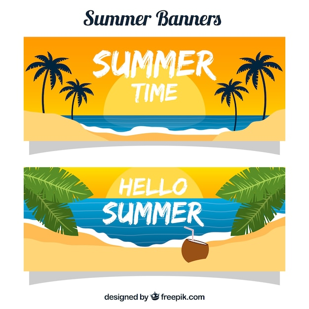 Summer banners with beach at sunset