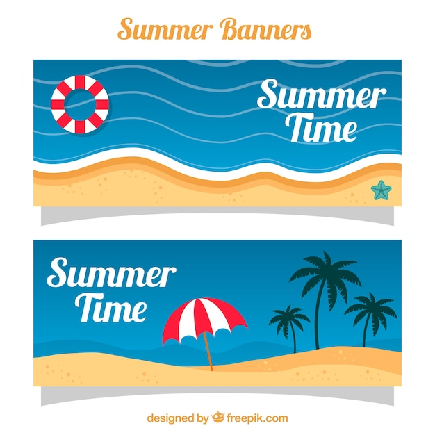 Summer banners with beach landscapes