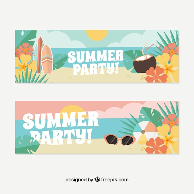 Summer banners with flowers and items in pastel\ colors