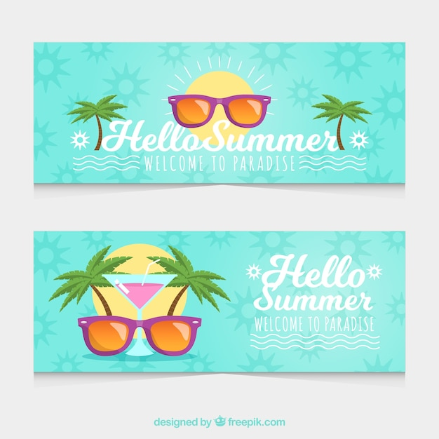 Sunglasses With Palm Trees  summer banners with sunglasses and palm trees vector free download