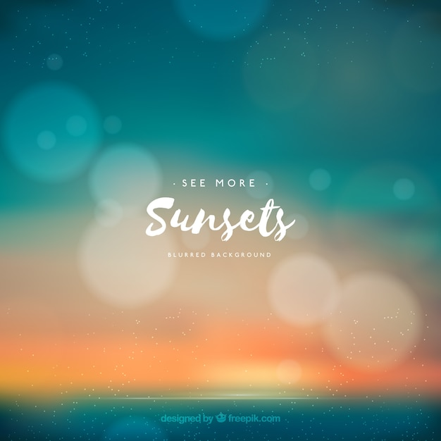 Summer beach background at sunset with bokeh effect Vector