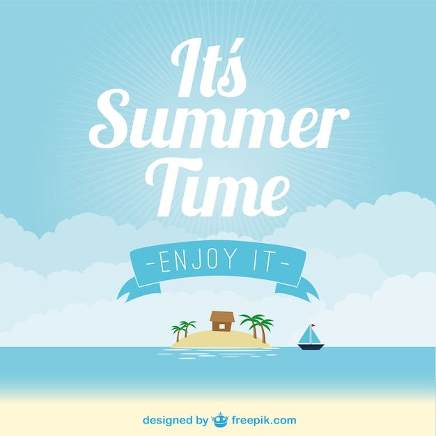 Summer beach background with an island and a boat Free Vector