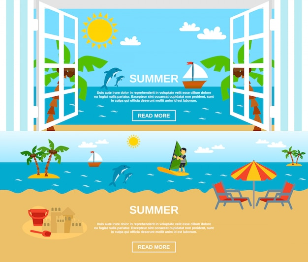 Summer and beach banners set Free Vector
